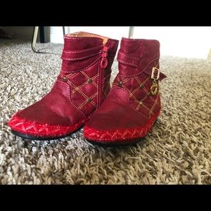 Red fleece-lined boots